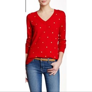 J. Crew Embroidered Polka Dot Sweater, Style E3422